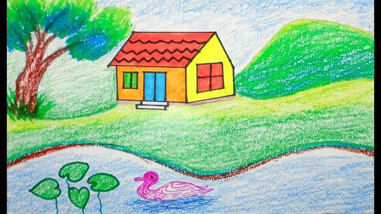 How to draw scenery scenery of house draw for beginners draw for kids drawing