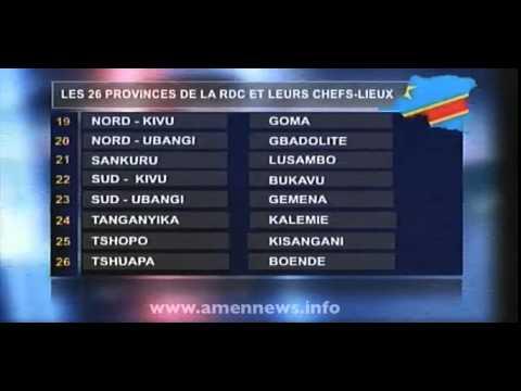 LES 26 PROVINCES DE LA RDC ET LEURS CHEFS LIEUX