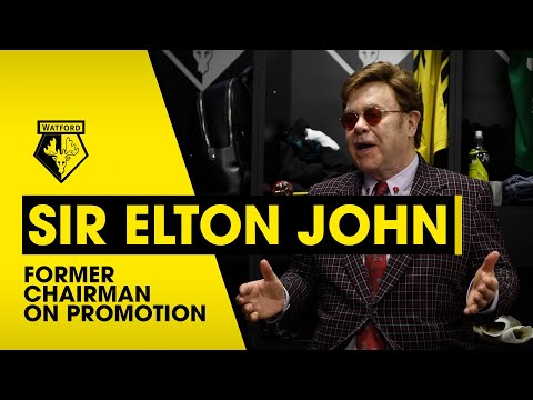 SIR ELTON JOHN   FORMER WATFORD CHAIRMAN ON PROMOTION TO THE PREMIER LEAGUE!
