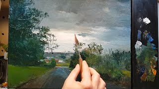 Walk Town Road - How To - Oil Painting - Palette Knife | Brush - Impressionism Color Mixing Dusan