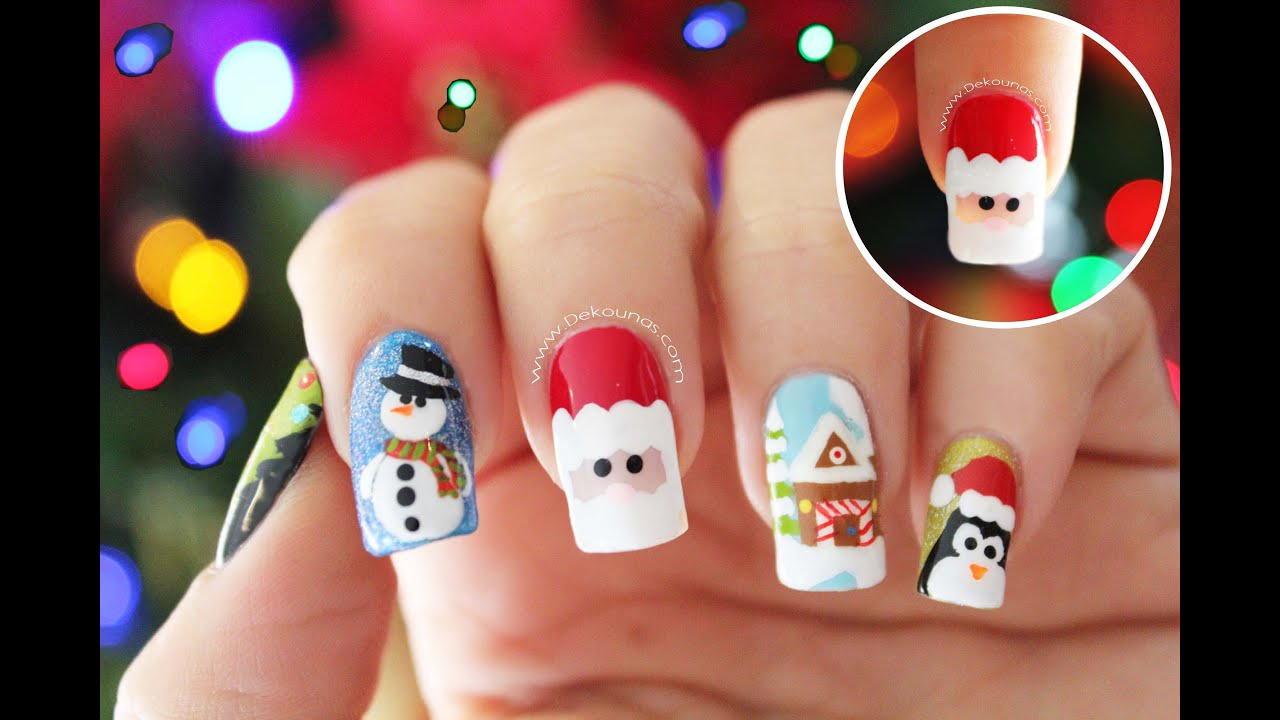 Decoracin de uas navidad PAP NOEL Santa Claus nail art YouTube