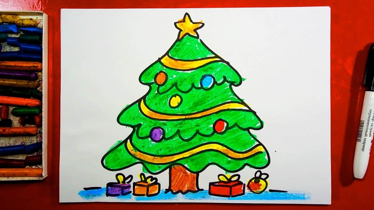 762ee0a7591115b Как нарисовать ЁЛОЧКУ на Новый год! Открытка от РыбаКит - YouTube