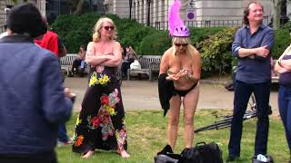 Naked bicycle Event London 2019 - Tower Hill - cyclists getting ready -( Age 18 + Only)
