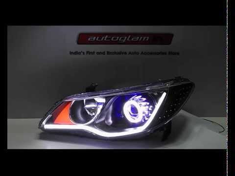 Honda Civic Audi Style Aes Hid Projector Headlamp With 55