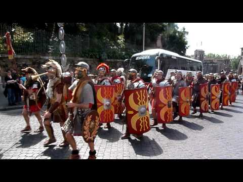 Roman Soldiers Walking to The Colosseo.