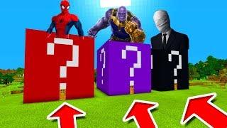 Minecraft PE : DO NOT CHOOSE THE WRONG LUCKY BLOCK! (Spiderman, Thanos & Slenderman)
