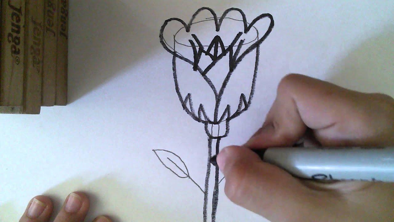 Como dibujar una rosa para ni os youtube - Como secar una rosa ...