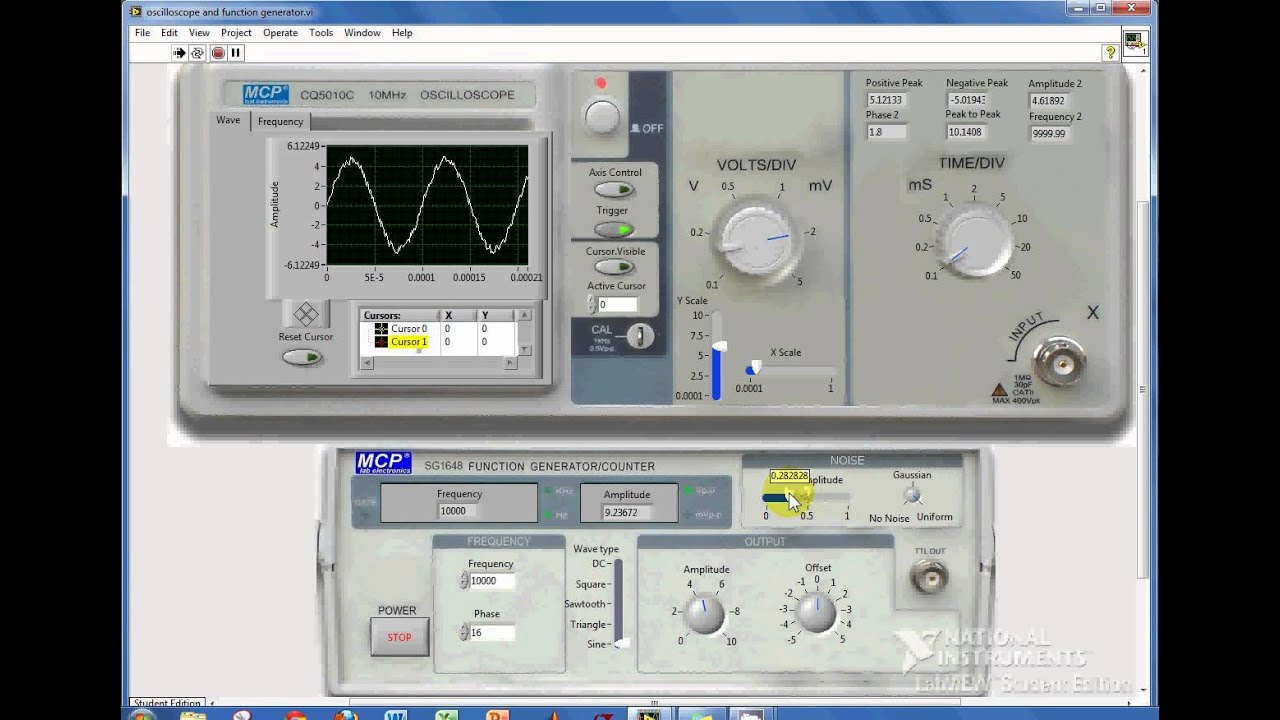Function Generator And Oscilloscope : Labview oscilloscope and function generator youtube