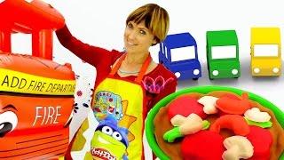 Веселая Школа с Машей Капуки Кануки - Игры с Плей До -  4 машинки