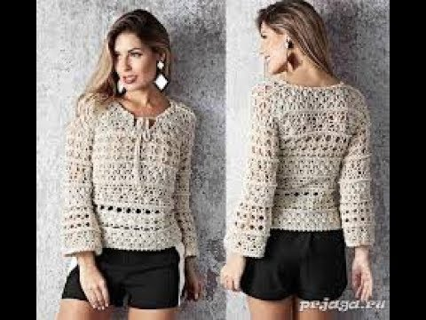 вязание кофточек из хлопка крючком модели 2019 Knitting Sweaters Of Cotton Crochet