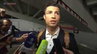 Andy Burton attempts to interview Cristiano Ronaldo three times