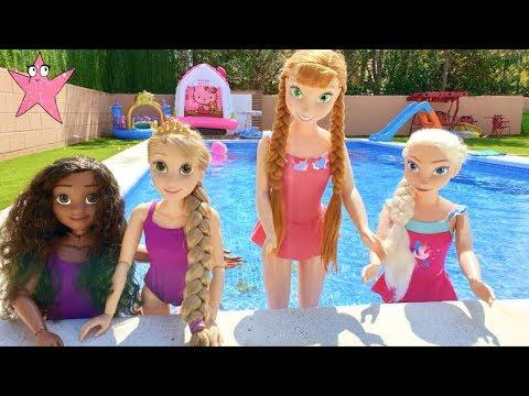 Elsa Anna Moana Y Rapunzel Se Divierten En La Piscina Youtube