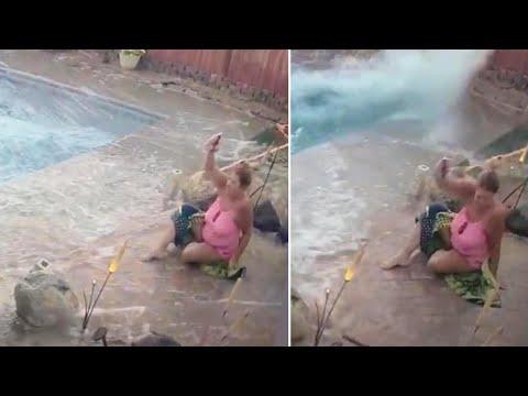 DJ Frosty - Woman's Pool Turns Into Tsunami During Earthquake