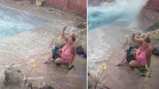 Woman's Pool Turns Into Tsunami During Earthquake