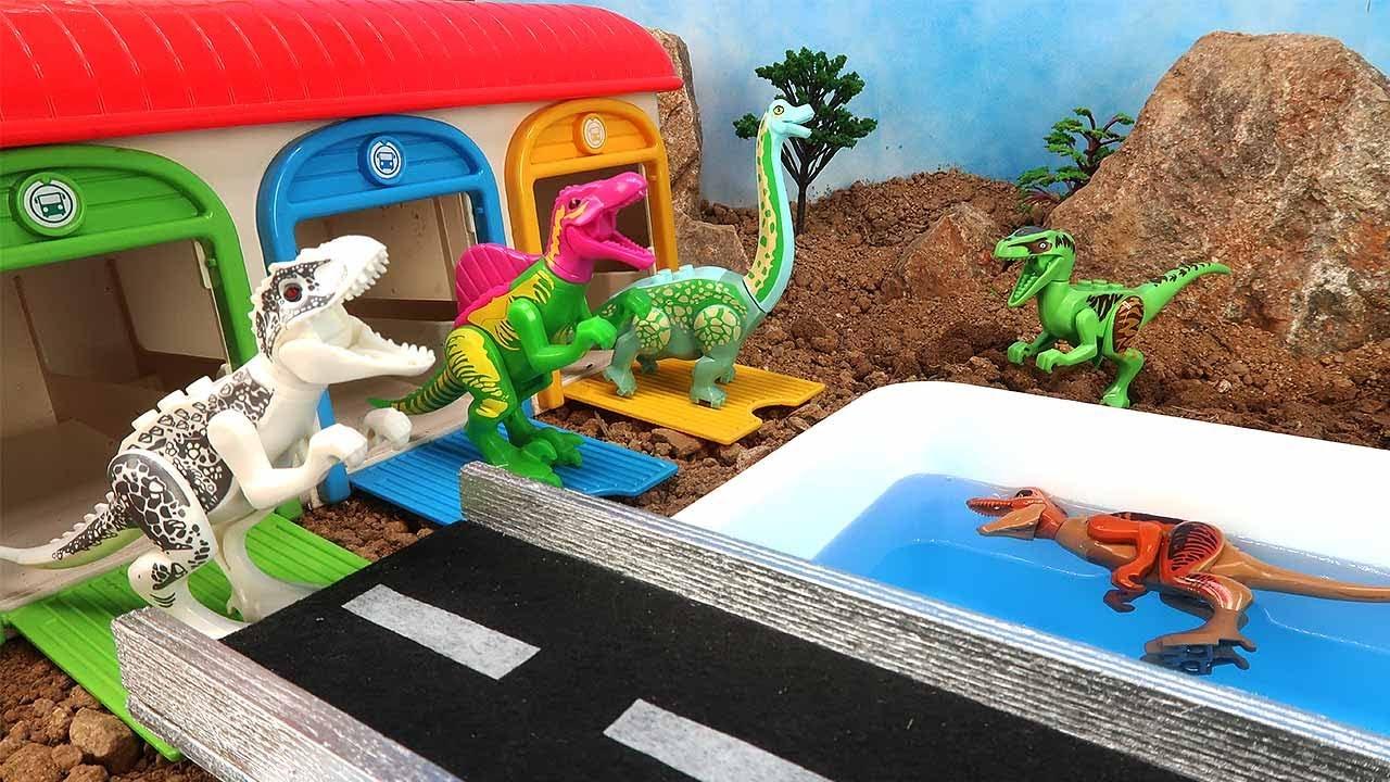 Dinosaur Lego In Water Pool. Dino Lego Wrong Head Tail - T-Rex, Brachiosaurus For Kids