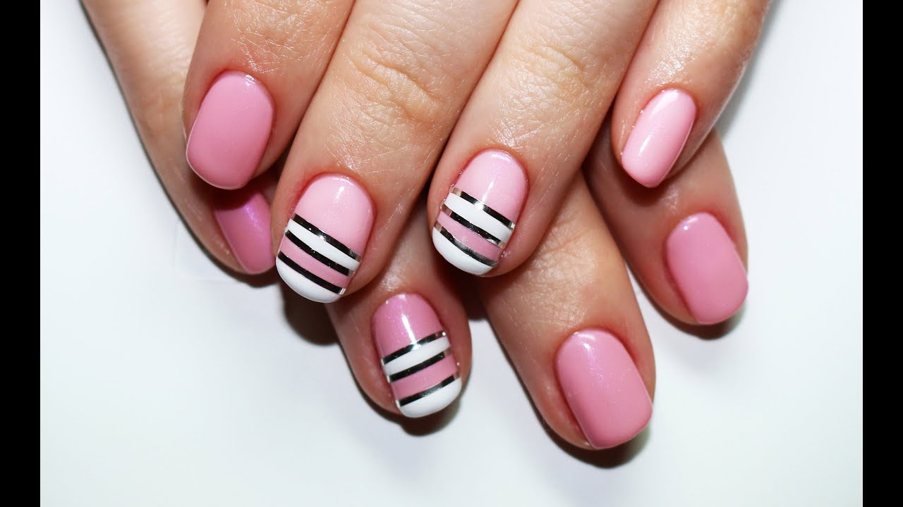 Striping Tape Nail Art Design Nail Art Con Il Nastro Adesivo Youtube