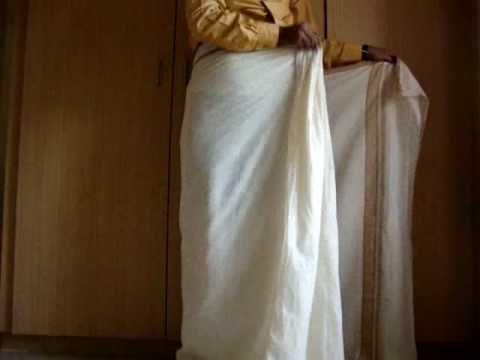 50b721bb8a how to wear a mundu / south indian dhoti - www.keralastores.in - YouTube