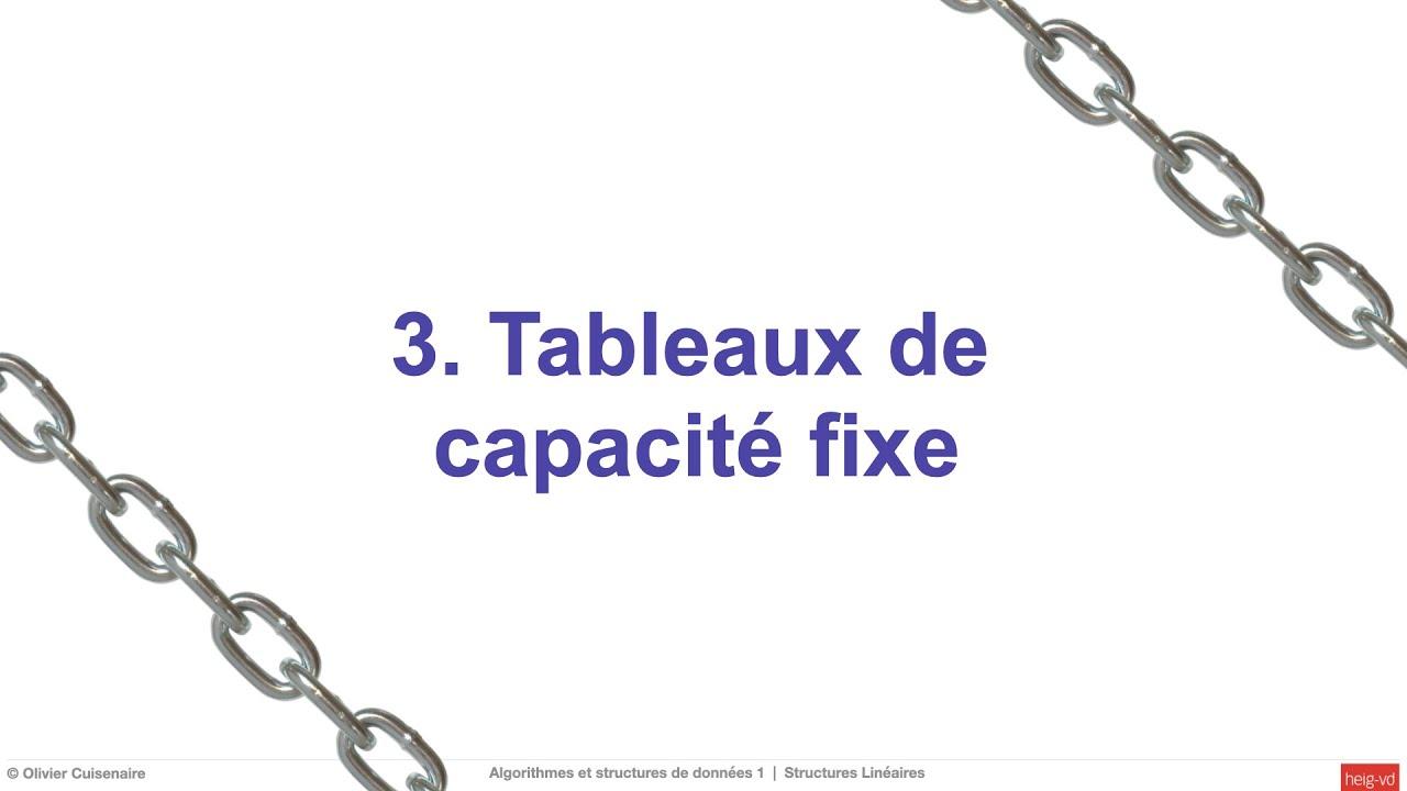 4 3 Tableaux De Capacite Fixe Youtube