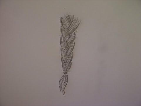 Haare  zeichnen lernen. Geflochtenen Zopf malen. How to draw hair