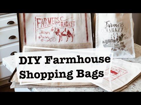 DIY STENCIL ON BURLAP & CANVAS   HOBBY LOBBY SHOP WITH ME   FARMHOUSE SHOPPING BAGS