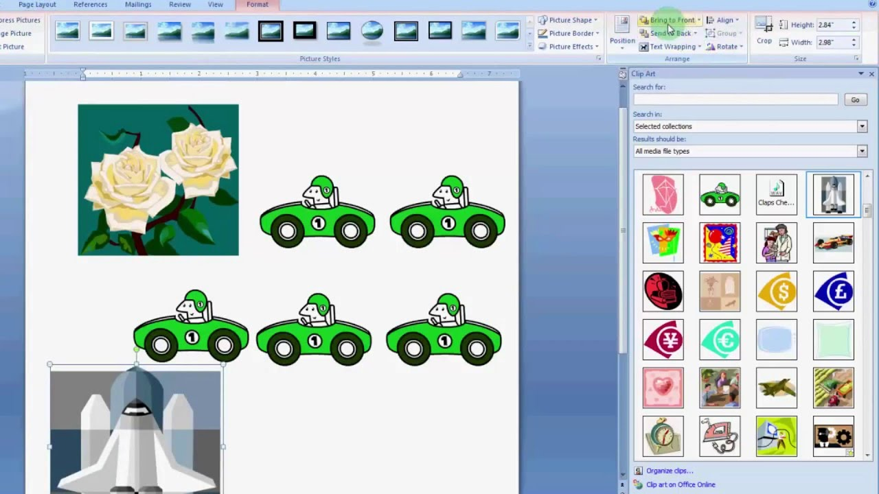 how to use clip art in ms word 2007 youtube rh youtube com word clipart frame corner word clipart red x