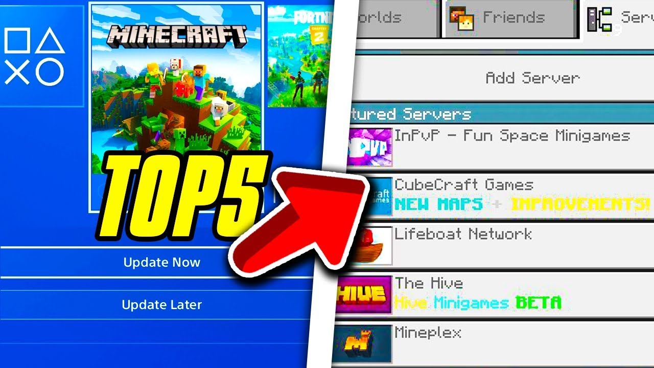 Minecraft Ps4 Bedrock Edition Top 5 Servers Minecraft Ps4 Bedrock Servers Youtube