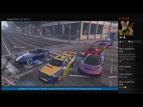 GTA5 Car Show With Subs Plus Jobs Giveaway at 600 subsplus shout outs