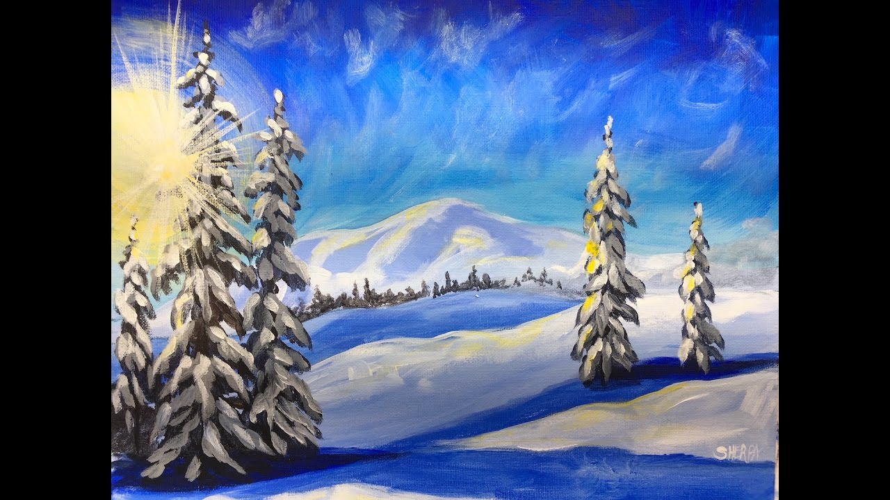 Winter Landscape Step By Acrylic Painting On Canvas For Beginners