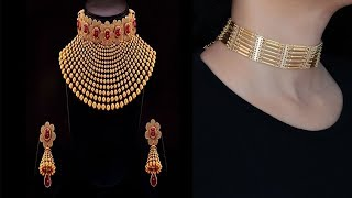 Gold Choker Necklace Collection | Latest Gold Bridal Choker Necklace Designs