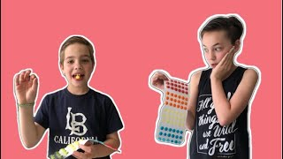 KIDS TRY CANDY DOTS / DID AIDEN PUKE??
