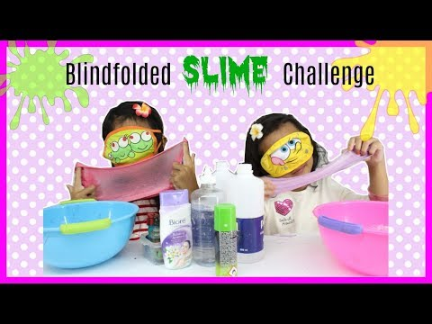 BLINDFOLDED SLIME CHALLENGE ♥ MEMBUAT SLIME SAMBIL TUTUP MATA ?