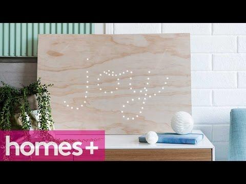 DIY IDEA: Plywood fairy light sign display - homes+