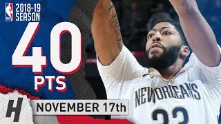 Anthony Davis Full Highlights Pelicans vs Nuggets 2018.11.17 - 40 Pts, 8 Ast, 8 Rebounds!