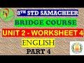 8th English Work Sheet 4 Bridge Course Answer Key