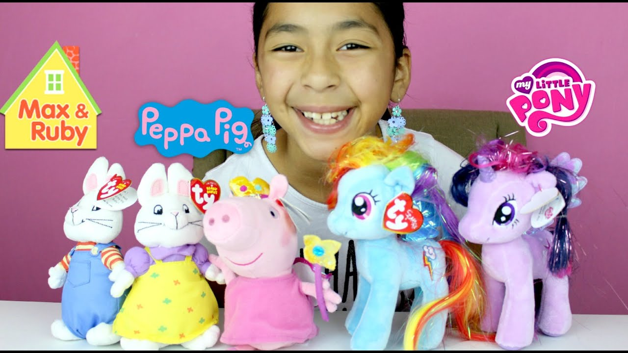 cb7b0830474 Peppa Pig My Little Pony Max   Ruby Beanie Babies TY ...