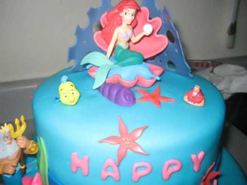 The Little Mermaid Birthday Cake Fondant YouTube