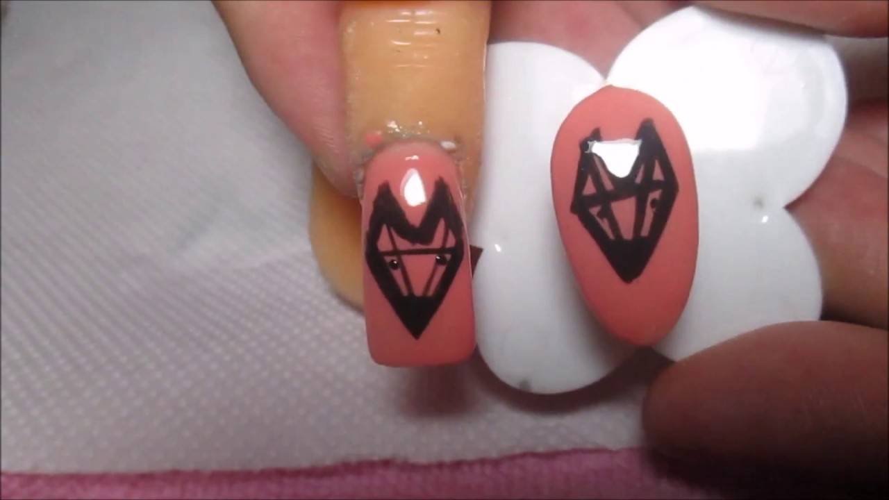 Geometric Fox Nail Art Tutorial - YouTube
