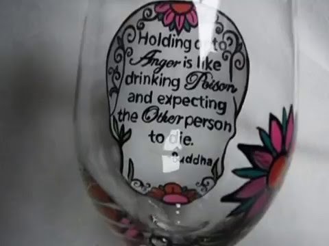 Custom Hand Painted Sugar Skull Wine Glass with Personal Message