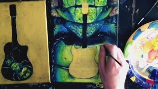 STEP by STEP Acrylic Painting, Gold-leaf, Glazing, Guitars, & Green Beetle