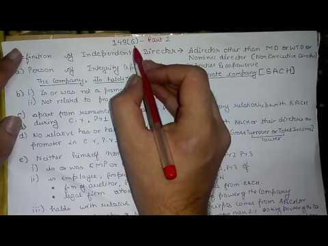 Companies Act, 2013 - Section 149 (6) - Part 2 (Definition of Independent Director) en streaming