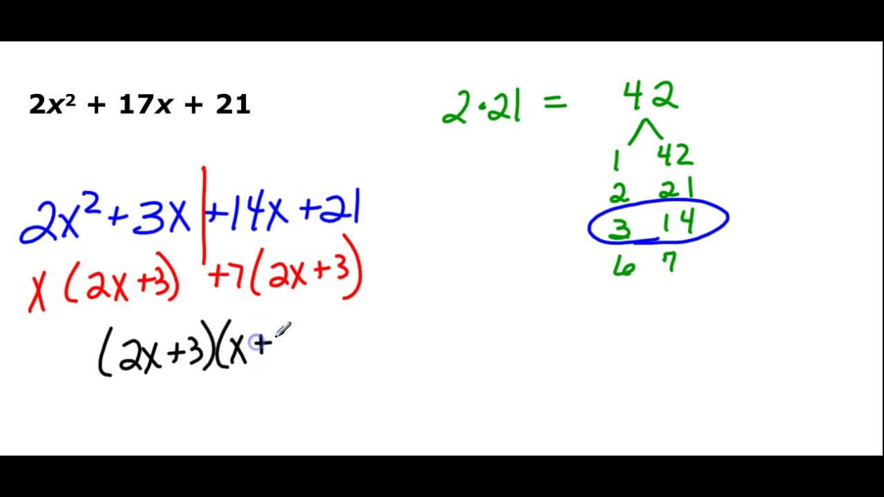 Factoring Trinomials In The Form Ax2 Bx C Youtube