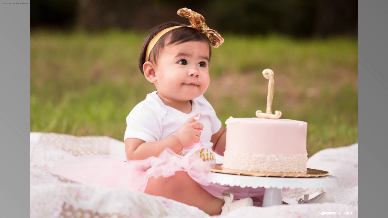One Year Old Birthday Photos Of Infant Girl Sophia