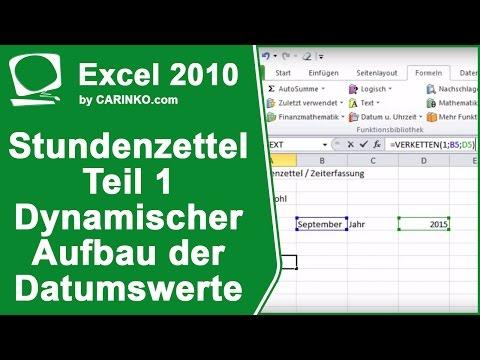 Stundenzettel Zeiterfassung in Excel erstellen Teil 1 - carinko.com from YouTube · Duration:  18 minutes 34 seconds