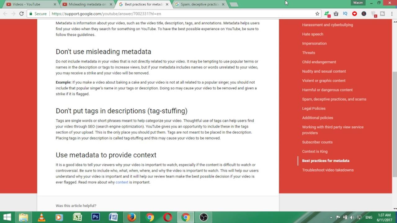 Misleading metadata on YouTube | New YouTube Policy 2017
