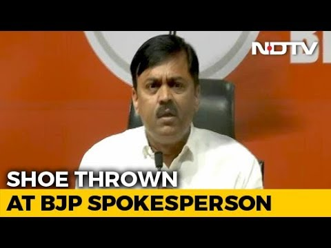 Man Throws Shoe At BJP Leader GVL Narsimha Rao