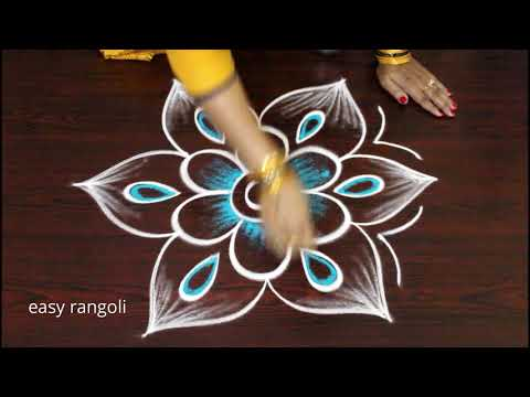 Beautiful & Creative Muggulu with colors - Daily routine rangoli kolam designs
