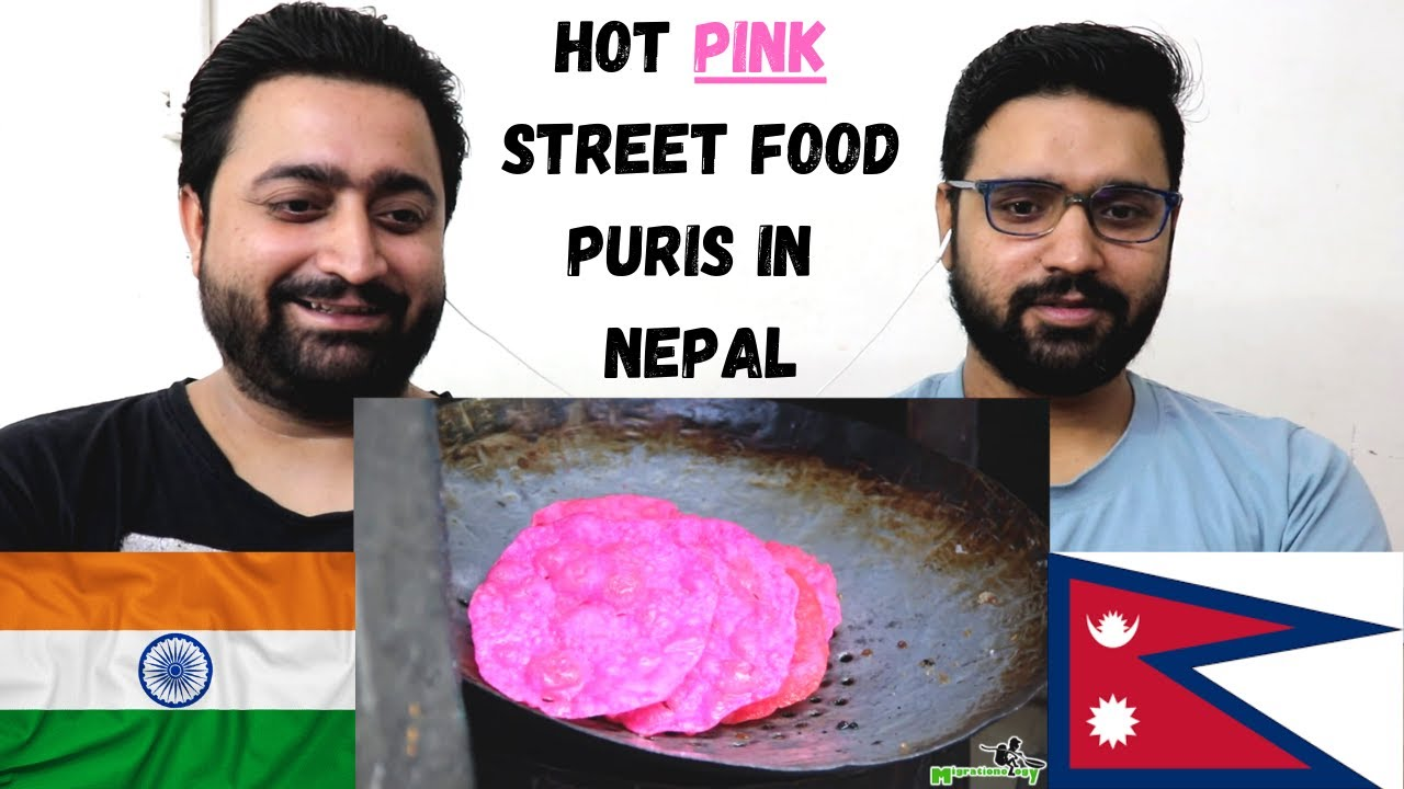 INDIAN REACTION ON HOT Pink Street Food Puris in Nepal!