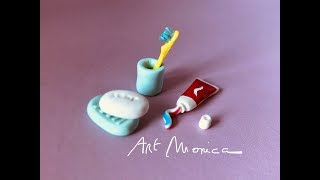 Bathroom Kit Miniature Polymer Clay DIY: toothpaste, toothbrush, soap, soap Dish & toothbrush holder