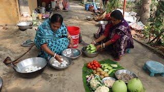 Bengali Food Egg Cauliflower Recipe / Lau Chingri and Begun Bhaja Village Style Recipe