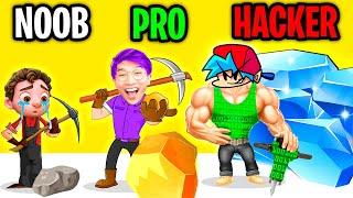 NOOB vs PRO vs HACKER In STONE MINER!? (ALL LEVELS!) screenshot 5